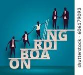 business onboarding concept. hr ... | Shutterstock .eps vector #606179093