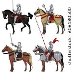 late medieval knights on... | Shutterstock .eps vector #606180500