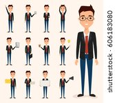set of business man character... | Shutterstock .eps vector #606183080