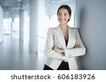 surprised business woman with... | Shutterstock . vector #606183926