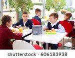 children sitting at cafeteria...   Shutterstock . vector #606183938