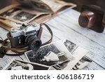 an old camera with black and... | Shutterstock . vector #606186719