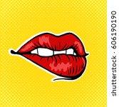 female lips pop art retro...   Shutterstock .eps vector #606190190