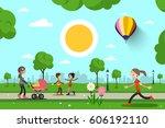 people in city park vector... | Shutterstock .eps vector #606192110