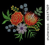 embroidery stitch with protea... | Shutterstock .eps vector #606197609