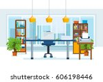 the interior of the office room ... | Shutterstock .eps vector #606198446