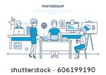 partnerships  teamwork and... | Shutterstock .eps vector #606199190