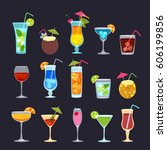 tropical cocktails  juice  wine ... | Shutterstock .eps vector #606199856