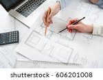 young female architect and... | Shutterstock . vector #606201008