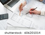 young female architect and... | Shutterstock . vector #606201014