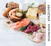 assortment of healthy protein... | Shutterstock . vector #606201989