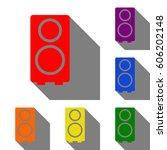 speaker sign illustration. set...