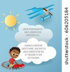 african american boy with... | Shutterstock .eps vector #606205184