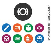 set of 9 part filled icons such ... | Shutterstock .eps vector #606205364