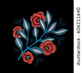 embroidery floral pattern with... | Shutterstock .eps vector #606211640