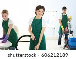 service team cleaning modern... | Shutterstock . vector #606212189