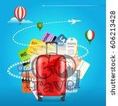 go travel concept. travel bag... | Shutterstock .eps vector #606213428