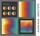 set of creative banners with... | Shutterstock .eps vector #606217670