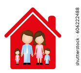 red family together icon ... | Shutterstock .eps vector #606222488