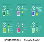 healthy smoothie set with... | Shutterstock .eps vector #606225620