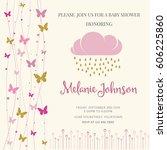 lovely baby shower card... | Shutterstock .eps vector #606225860
