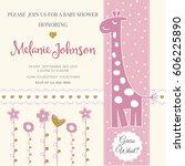 lovely baby shower card... | Shutterstock .eps vector #606225890