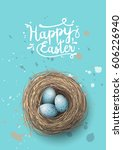 easter greeting card  nest with ... | Shutterstock .eps vector #606226940