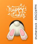 Stock vector text happy easter and white bunny bottom on orenge background vector illustration eps with 606226994