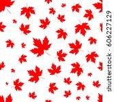 maple leaves seamless pattern ... | Shutterstock .eps vector #606227129