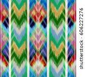 abstract ethnic ikat pattern... | Shutterstock . vector #606227276