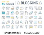 set vector simple line icons ... | Shutterstock .eps vector #606230609