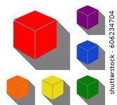 cube sign illustration. set of... | Shutterstock .eps vector #606234704