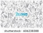 hand drawn ice cream doodle set ... | Shutterstock .eps vector #606238388