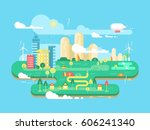 green city flat | Shutterstock . vector #606241340