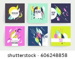 set of geometric abstract... | Shutterstock .eps vector #606248858