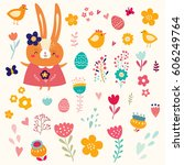 easter collection. holiday... | Shutterstock .eps vector #606249764