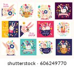 collection of happy easter... | Shutterstock .eps vector #606249770