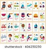 huge vector summer collection... | Shutterstock .eps vector #606250250