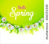 hello spring card with green... | Shutterstock . vector #606251330