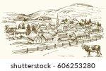 vintage landscape  new england... | Shutterstock .eps vector #606253280
