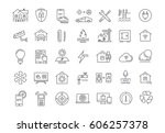 set  line icons with open path... | Shutterstock . vector #606257378