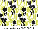 hand drawn tulip flower... | Shutterstock .eps vector #606258014