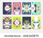 set of geometric abstract... | Shutterstock .eps vector #606260870