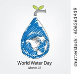save water. world water day... | Shutterstock .eps vector #606261419
