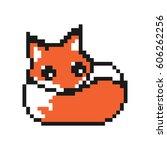 orange cute pixelated fox... | Shutterstock .eps vector #606262256