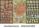 vector set. castle top view. ... | Shutterstock .eps vector #606262484