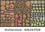 vector set. castle top view. ... | Shutterstock .eps vector #606262508