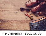 travel clothing accessories... | Shutterstock . vector #606263798