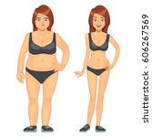 unhappy fat and happy slim... | Shutterstock .eps vector #606267569