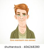 cute redhead young man portrait ... | Shutterstock .eps vector #606268280